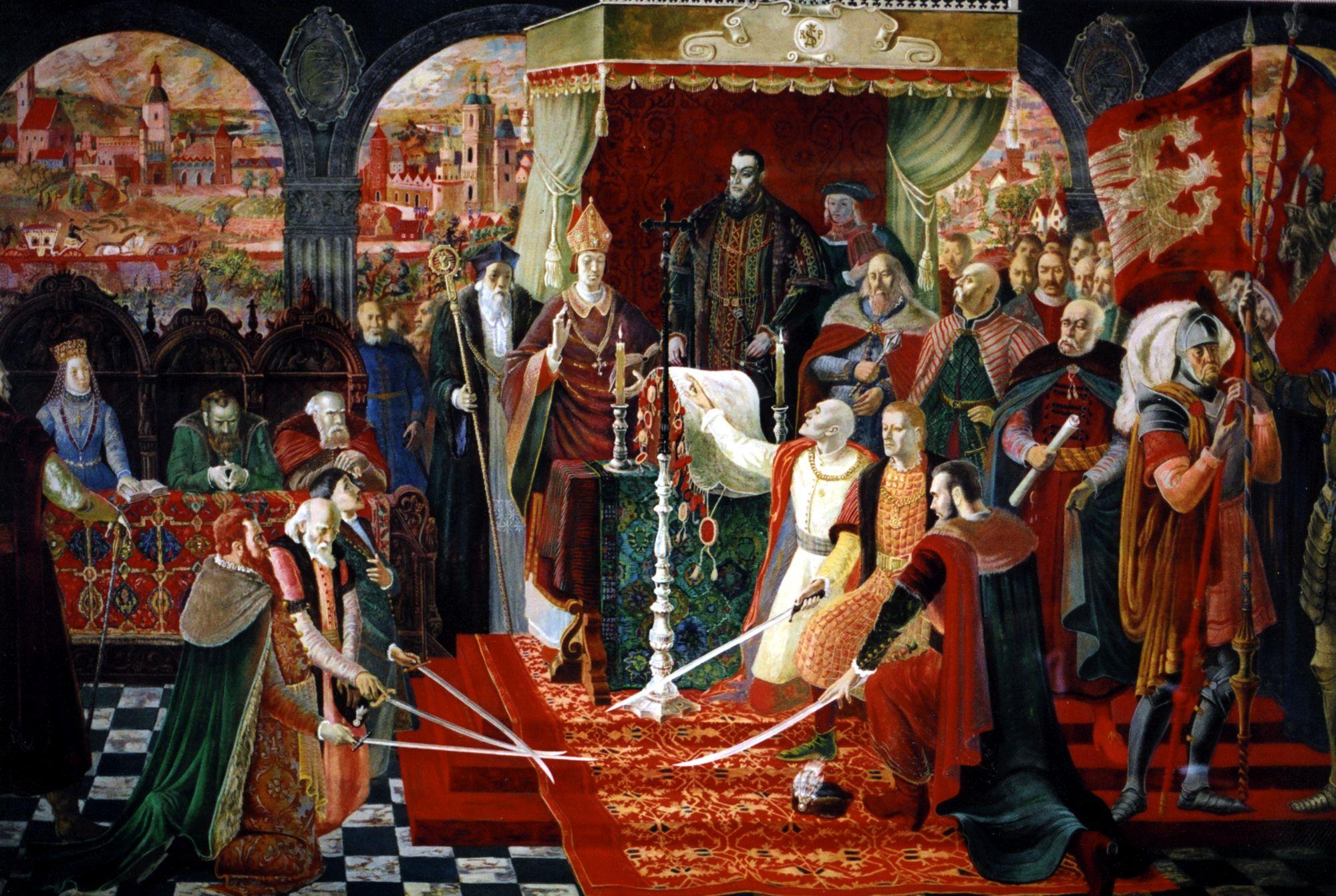 """<b>Tytuł:</b> Unia Lubelska 1569 roku; <br /><b>Autor: </b>Bractwo Łukaszowców; <br /><b>Opis: </b>Obraz """"Unia Lubelska 1569 roku"""" wchodziła w skład cyklu obrazów historycznych namalowanych przez członków Bractwa Świętego Łukasza na Wystawę Światową, która odbyła się w 1939 roku w Nowym Jorku. Cykl miał być umieszczony w sali honorowej Polskiego Pawilonu.<br /><b>Prawa: </b>Copyright © Muzeum Nadwiślańskie w Kazimierzu Dolnym; <br /><a  data-cke-saved-href=""""http://biblioteka.teatrnn.pl/dlibra/dlibra/docmetadata?id=19863"""" href=""""http://biblioteka.teatrnn.pl/dlibra/dlibra/docmetadata?id=19863"""">Pełna fiszka publikacji</a><br />"""