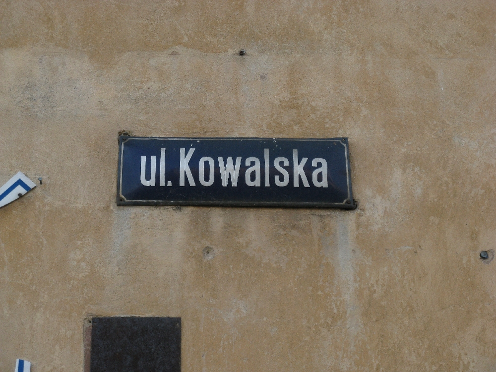 Street name sign on Kowalska St.
