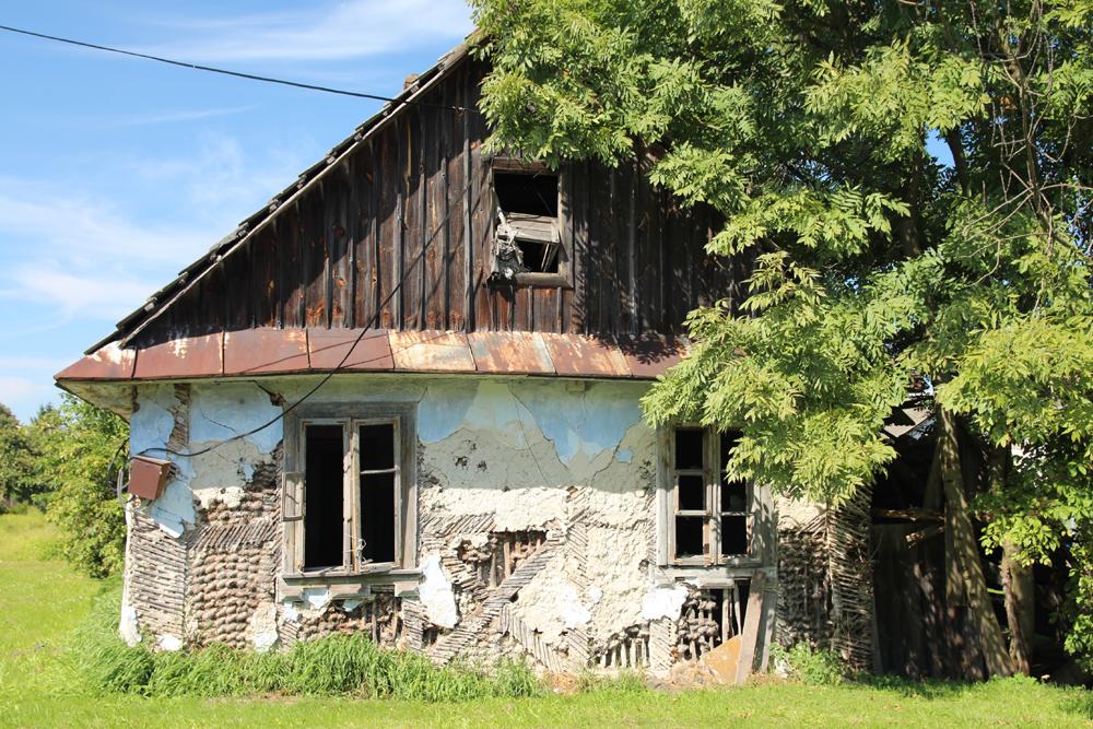 Ściana szczytowa domu drewnianego w Tyszowcach