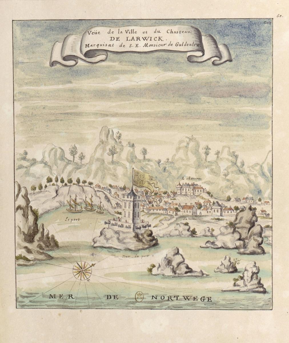 . «Veue de la Ville et du Cha‑ steau de Larwick Marquisat de S.E.Monsieur de Guldenlew».