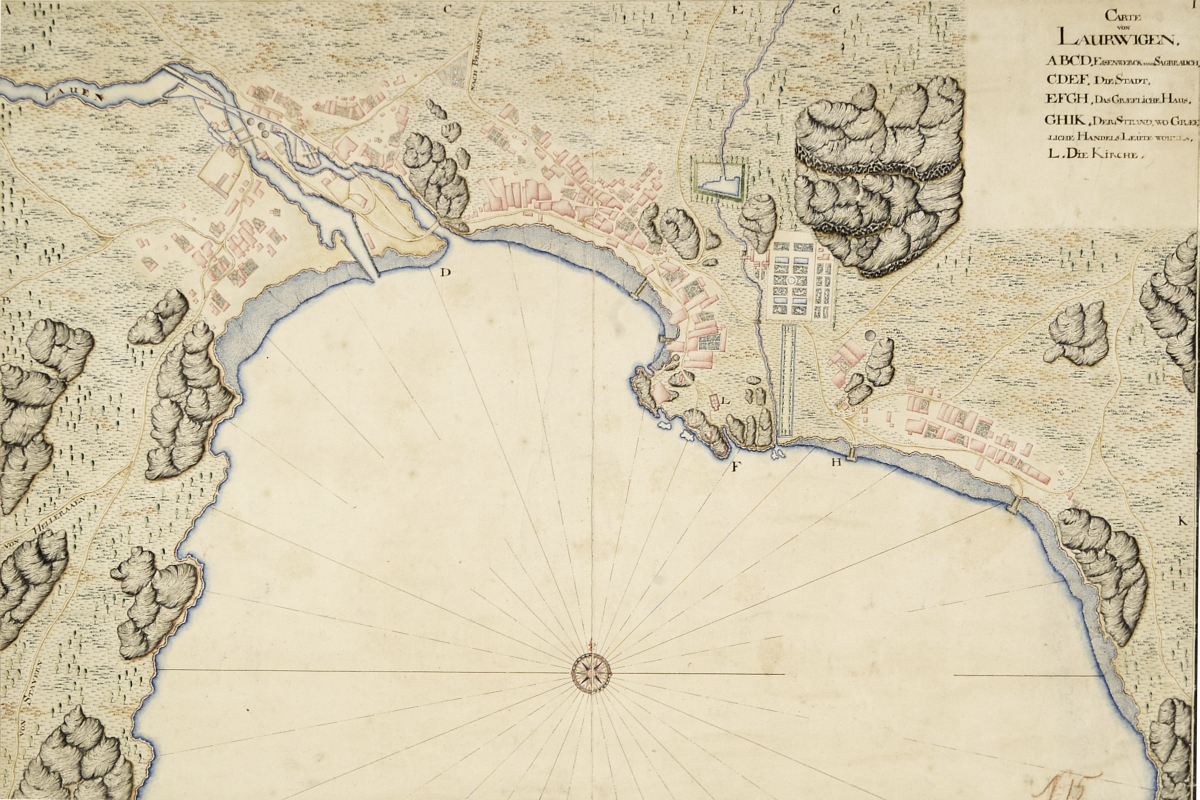 Amap from 1688 showing Larvik's oldest urban areas. Created by Peter Jacob Wilster