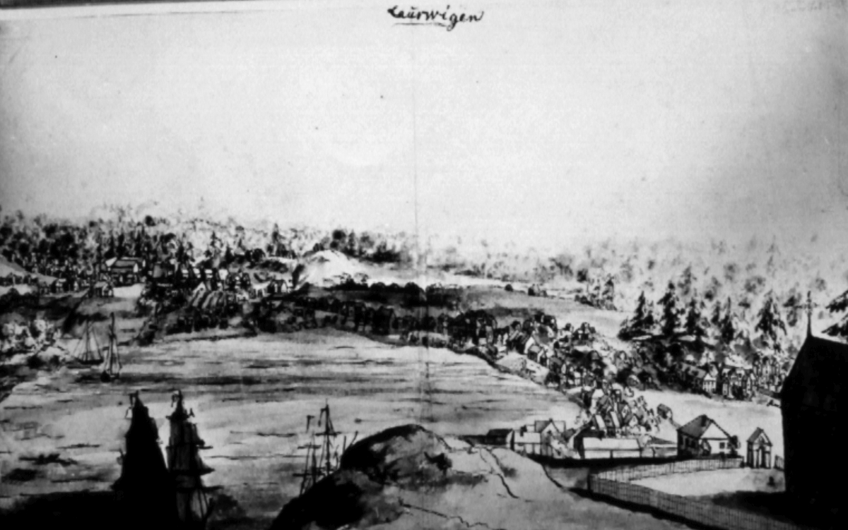 Prospect drawing of Larvik's urban areas from their western side towards the east, dated approx. 1740