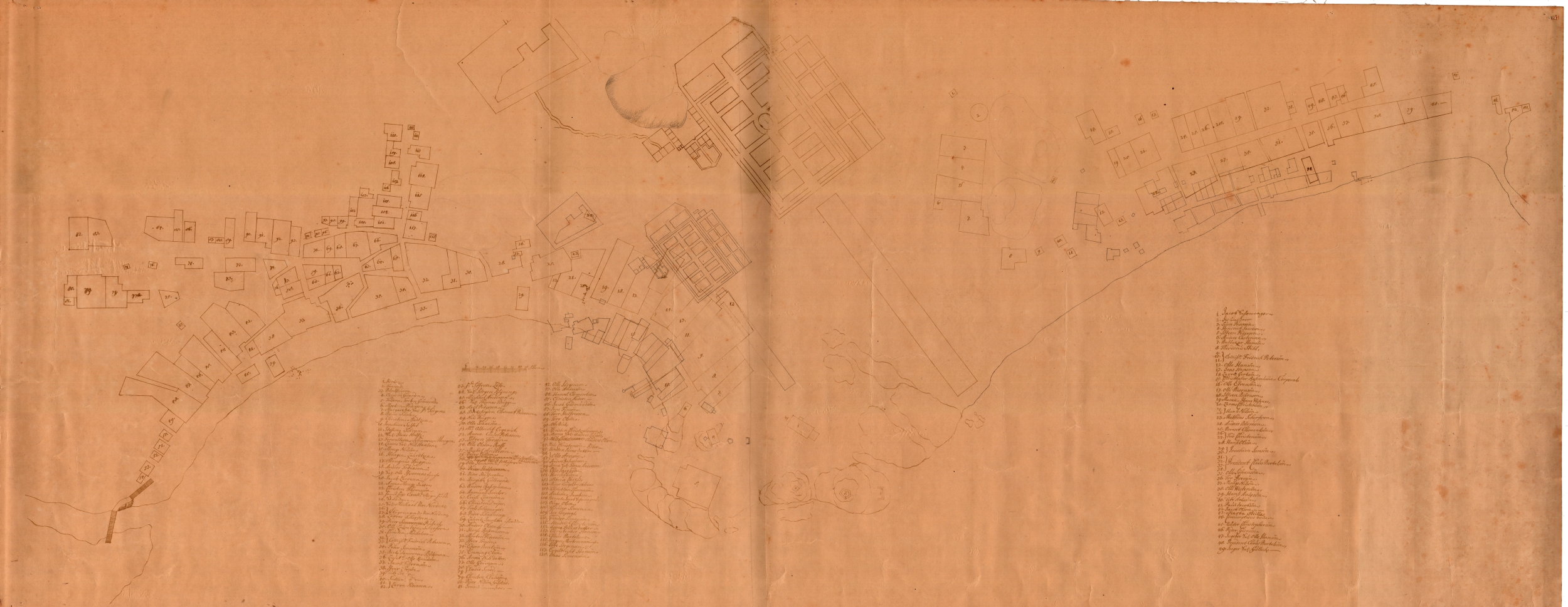 Town map of Larvik from 1688.