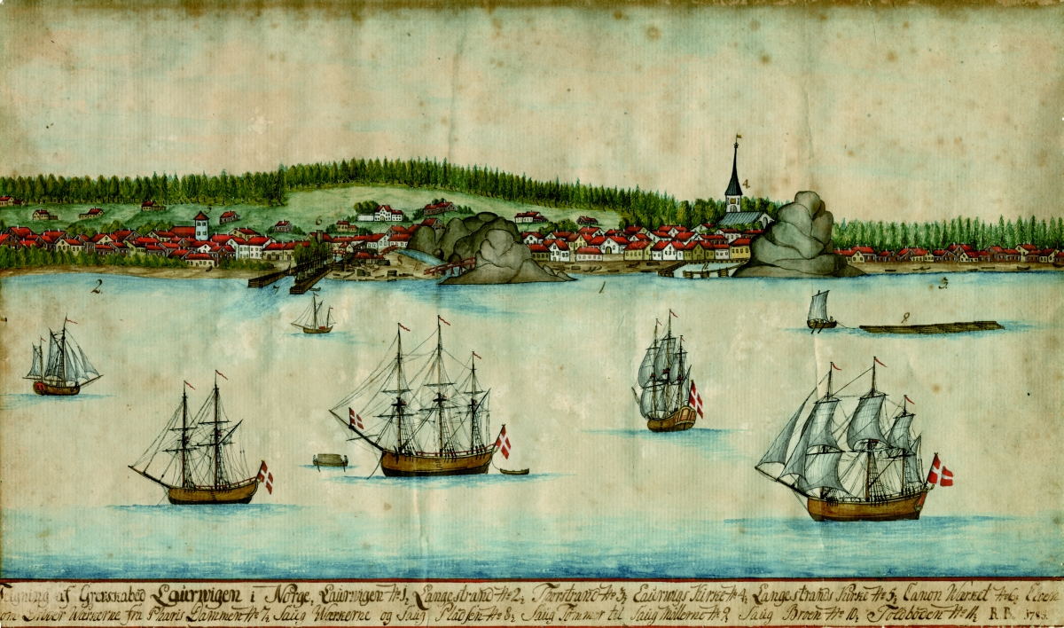 Aprospect drawing of Larvik from 1785