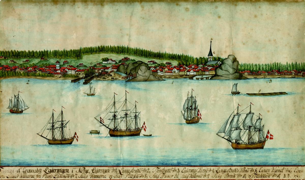 Widok Larviku z 1785 roku