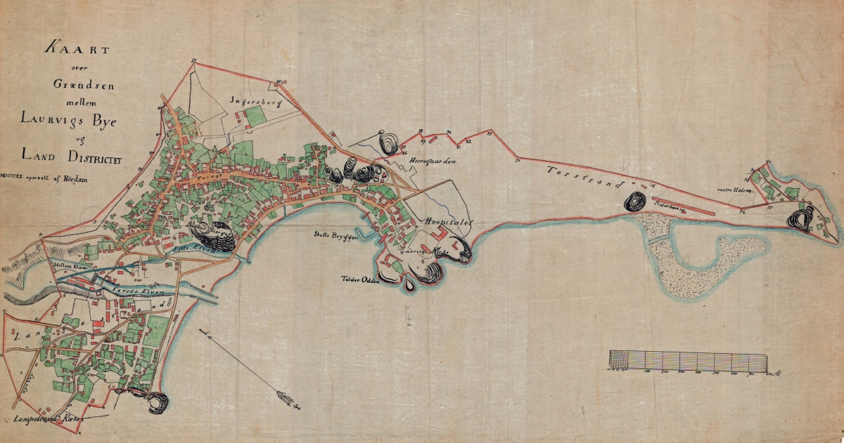 Larvik city and country district around 1820