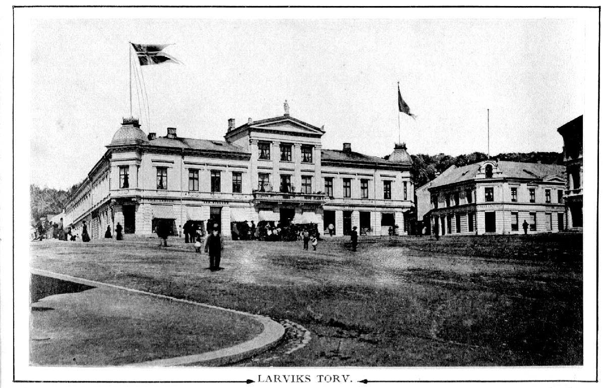 Główny targ Larvik około 1900 roku