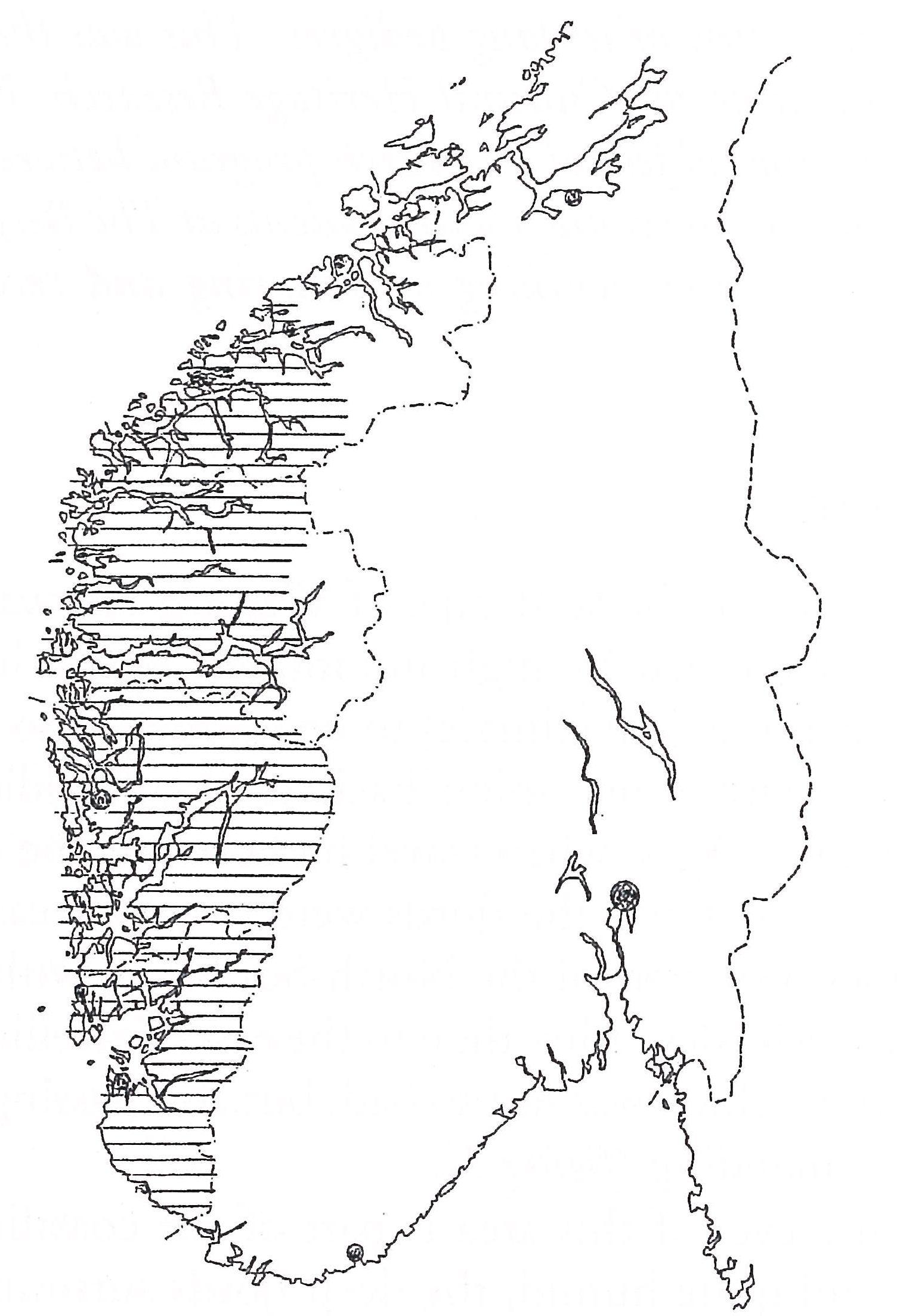 Mapa Norwegii ilustrująca obszar występowania konstrukcji ramowej