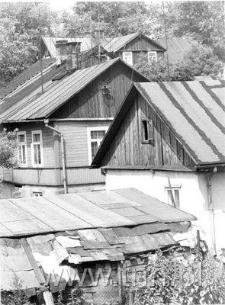 Panorama drewnianej, przedwojennej zabudowy Hrubieszowa - ulica Szewska i Ludowa