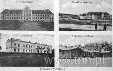 Pocztówka z widokami budynków systemu oświaty w Tomaszowie Lubelskim