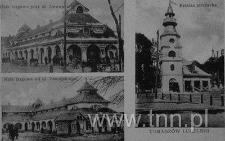 pocztówki z widokami hal targowych i remizy strażackiej w Tomaszowie Lubelskim
