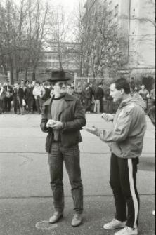 Mecz NZS UMCS kontra ZSP UMCS na boisku przy ul. Langiewicza w Lublinie 13.03.1989 r.