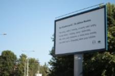 Fraszka Jana Kochanowskiego na billboardzie przy ul. Kunickiego