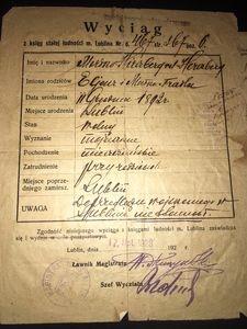 Mordko Hirschberg, wyciąg z księgi ludności