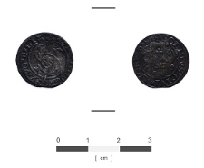 Szeląg z 1599 roku odkryty w fosie