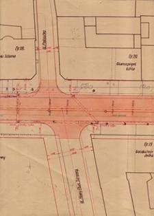 Plan sieci wodociągowej i kanalizacyjnej na skrzyżowaniu ulicy Lubartowskiej z ulicami Probostwo i Nowy Plac Targowy