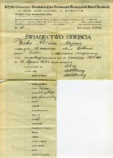 Waks Abram Mojżesz - świadectwo ukończenia Gimnazjum Koedukacyjnego Zrzeszenia Nauczycieli Szkoł Średnich w Lublinie