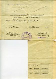 Waks Abram Mojżesz - secondary school graduation certificate