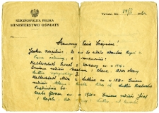 Letter about members of the Waks and Halbersztadt families