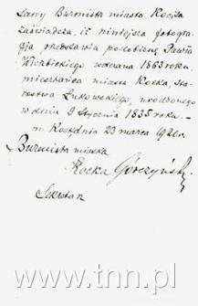 Rewers: poświadczenie tożsamości weteana 1863r. Pawła Wierzbickiego