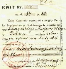 Pokwitowanie za wpłatę na budowę ogrodzenia grobu płk. Berka Joselewicza