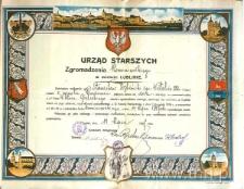 Świadectwo wyzwolenia na czeladnika Zgromadzenia Kominiarskiego z 1917 roku