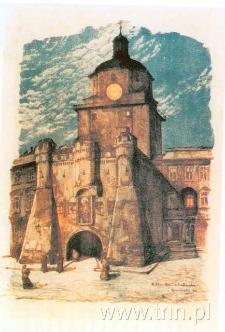 Brama Krakowska. Litografia Jana Gumowskiego
