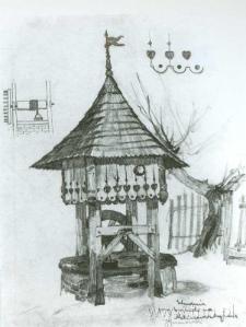 Studnia przy kościele na Kalinowszczyźnie. Szkic do litografii Jana Gumowskiego