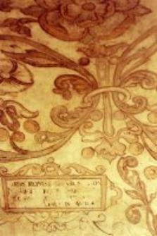 Fragment polichromii z Piwnicy pod Fortuną w Kamienicy Lubomelskich w Lublinie, ornamenty i tablica z inskrypcja