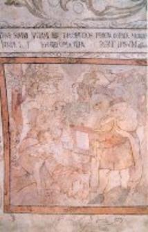 Fragment polichromii z Piwnicy pod Fortuną w Kamienicy Lubomelskich w Lublinie, scena alegoryczna