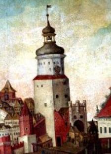 """Brama Krakowska w Lublinie - fragment obrazu """"Pożar miasta Lublina"""""""