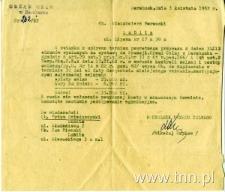 Zawiadomienie do Włodzimierza Borowskiego z Urzędu Celengo w Dohohusku