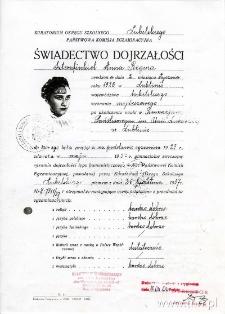 Anna-Regina Szternfinkiel - świadectwo maturalne