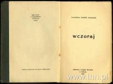"""Strona tytułowa tomiku """"Wczoraj"""" Bronisława Michalskiego"""
