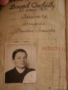 Identity card of Leonarda Kazanecka