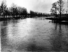Aleje Zygmuntowskie w Lublinie, w czasie powodzi w 1947 roku. Fotografia