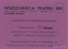 Zaproszenie Teatru NN i Centrum Kultury - awers