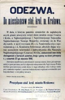 Odezwa do mieszkańców Krakowa