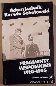 """Okładka książki """"Fragmenty wspomnień 1910-1945"""" A. L. Korwina-Sokołowskiego"""