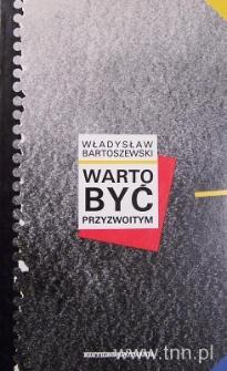 """Okładka książki """"Warto być przyzwoitym"""" W. Bartoszewskiego"""