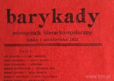 """Strona z czasopisma """"Barykady : miesięcznik literacko-społeczny"""" 1932, nr 1"""