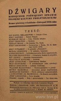"""Strona z czasopisma """"Dźwigary : miesięcznik poświęcony sprawie polskiej kultury proletarjackiej"""" 1934, nr 1"""