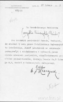List J. Kruszyńskiego do władz uniwersyteckich KUL