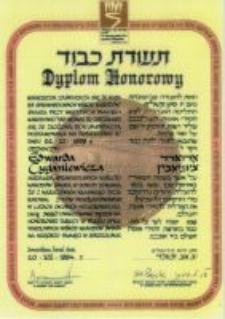 The diploma from the Yad Vashem Institute for Cyganiewicz Edward. July, 20. 1994 roku