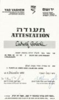 The document from the Yad Vashem Institute for Ludwik Golecki. 09.12.1986.