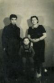 Rachel, Jakub and Bencjon (Beniek) Drutin, rescued of the Grzesiuk family. 1947