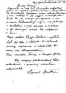 A letter from the rescued Samuel Merstem by Feliks Kida.Oktober, 25.1986