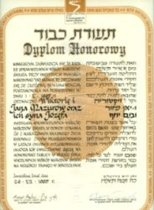 The diploma from the Yad Vashem Institute for Jan, Wiktoria and Józef Mazur
