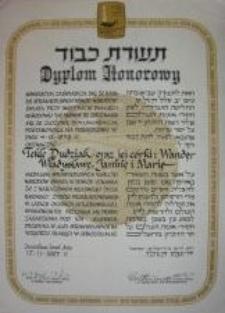 The diploma from the Yad Vashem Institute for Tekla, Wanda, Władysława, Janina and Maria Dudziak