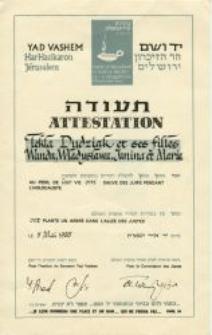 The diploma from the Yad Vashem Institute for Dudziak family